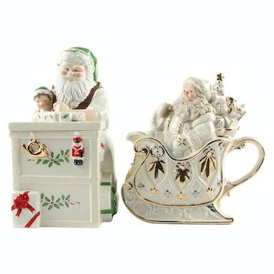 """Lenox Bone China Santa Cookie Jar and """"Florentine & Pearl"""" Teapot"""