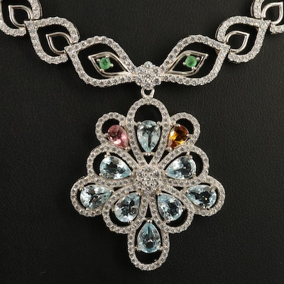 Sterling Silver Aquamarine, Emerald and Tourmaline Openwork Necklace