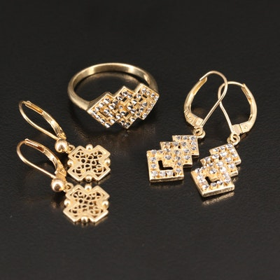 14K Diamond Cut Ring and Earrings