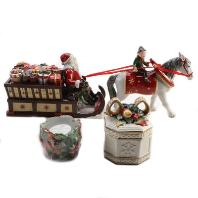 """Villeroy & Boch """"Christmas Toys"""" Figurine with Fitz & Floyd Candle and Box"""