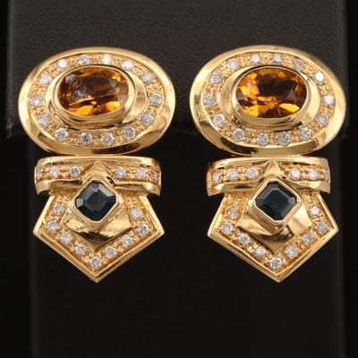 18K Citrine, Sapphire and Diamond Drop Earrings