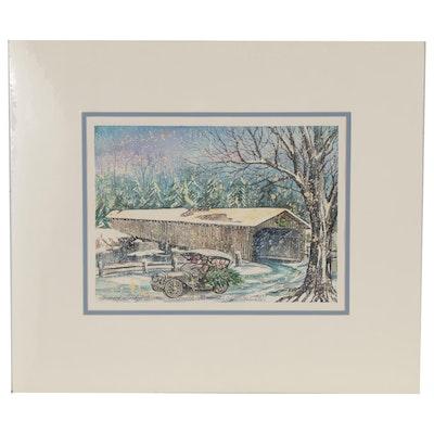 "Wanda Prillaman Watercolor Painting ""Covered Bridge Across Smith River"""
