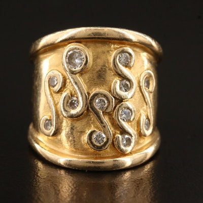 14K Diamond Cigar Ring
