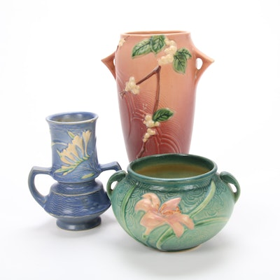 """Roseville Pottery """"Snowberry,"""" """"Zephyr Lily"""" and """"Freesia"""" Vases"""