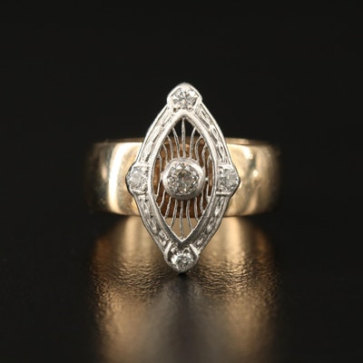 14K Ring with Marquise Shaped Platinum Diamond Top Featuring Filigree Design