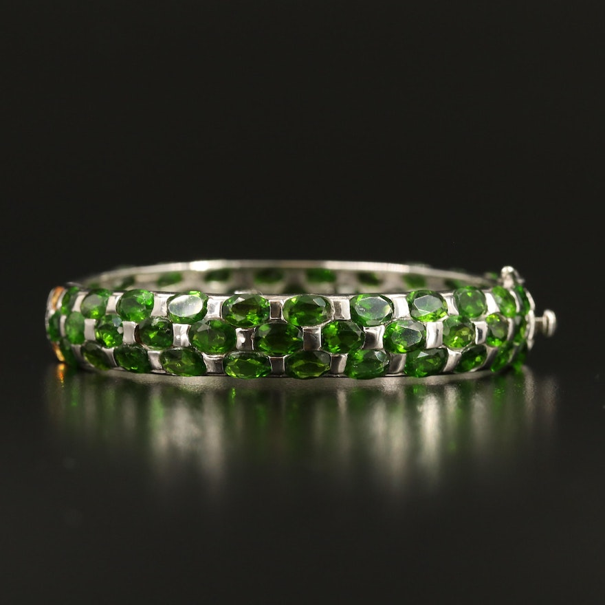 Sterling Silver Diopside and Sapphire Hinged Bracelet