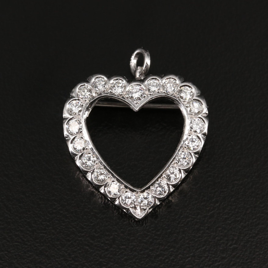 14K Diamond Heart Converter Brooch