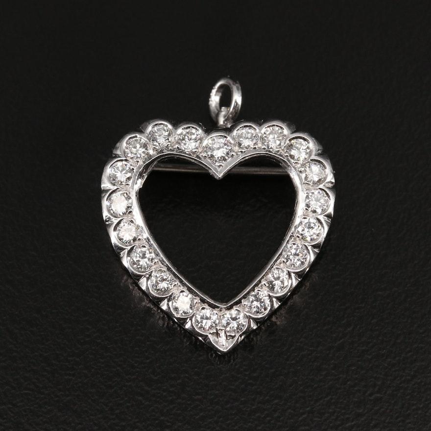 14K Diamond Heart Converter Brooch