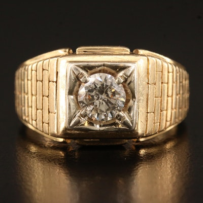 Vintage 14K Brick Pattern Diamond Ring