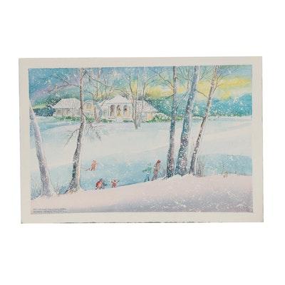 """Wanda Prillaman Christmas Watercolor Painting """"495 Hickory Ridge Road"""", 2004"""