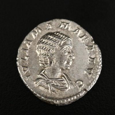 Ancient Roman Imperial AR Denarius of Julia Mamaea, ca. 222 A.D.