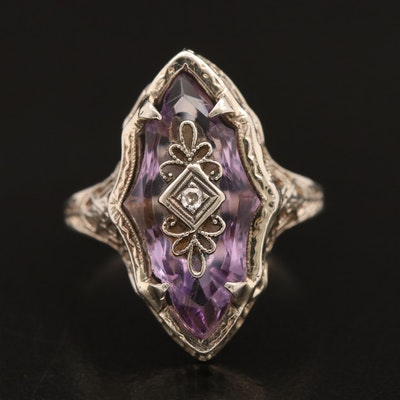 1930s Art Deco 14K and 10K Amethyst and Diamond Ring