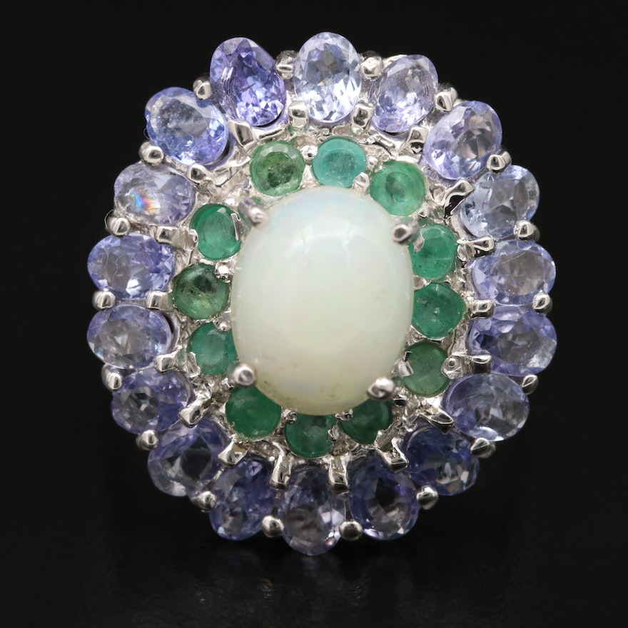Sterling Silver Opal, Emerald and Topaz Double Halo Ring