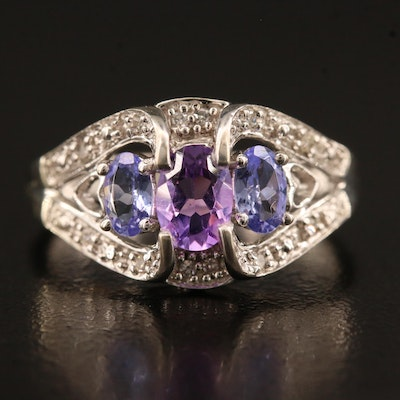 10K  Tanzanite and Amethyst Heart Motif Ring with Diamond Accents