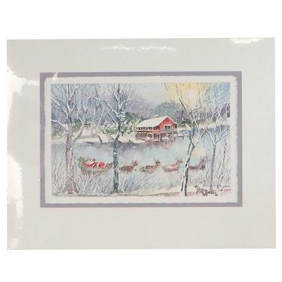 "Wanda Prillaman Christmas Watercolor Painting ""A Hard Day's Night"", 1991"