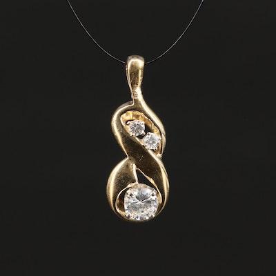 14K Diamond Infinity Pendant