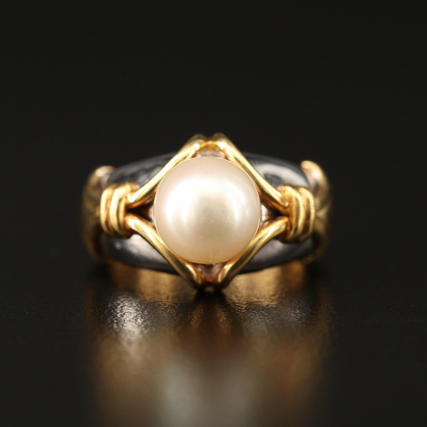 18K Two-Tone Gold Pearl Ring