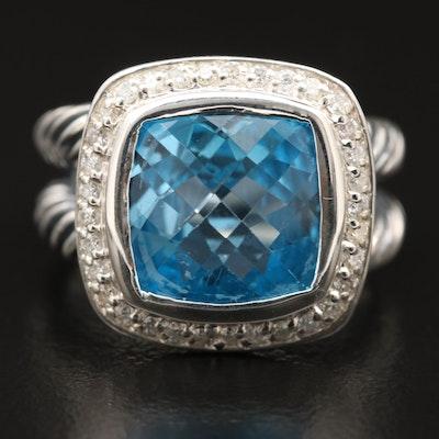 David Yurman Sterling Silver Topaz and Diamond Ring