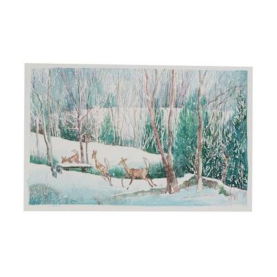 Wanda Prillaman Christmas Watercolor Painting, 2002