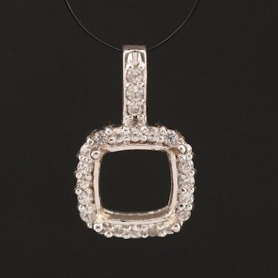 10K White Sapphire Semi Mount Pendant