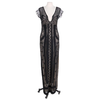 Diane Von Furstenberg Black Soutache Mesh Full-Length Evening Dress