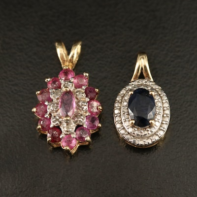 10K Sapphire and Diamond Double Halo Slide Pendants