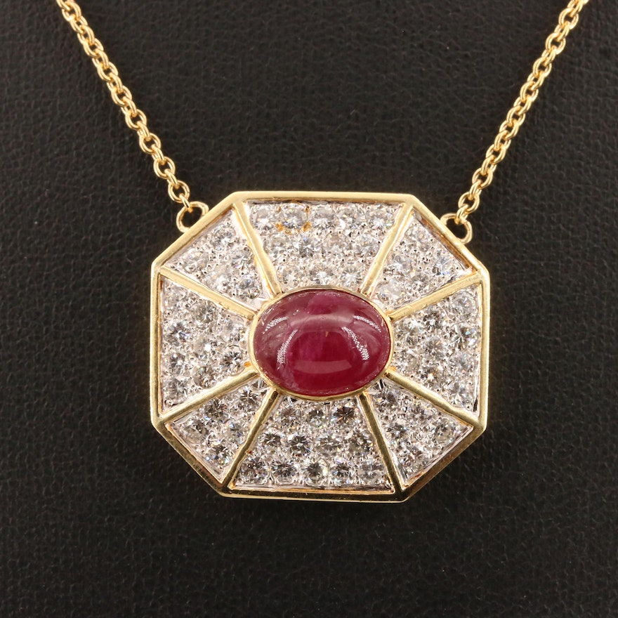 18K Ruby and 3.40 CTW Diamond Pendant Necklace