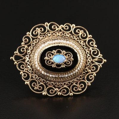 14K Opal, Glass and Seed Pearl Scrollwork Converter Brooch