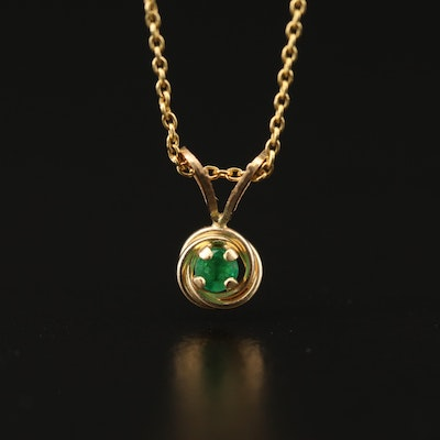 14K Emerald Pendant Necklace