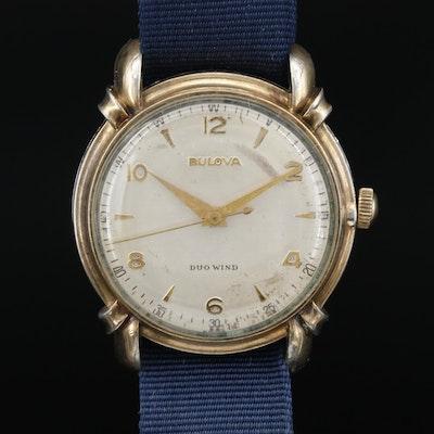 1950 Bulova Duo Wind 10K  Gold Plate Automatic Wristwatch