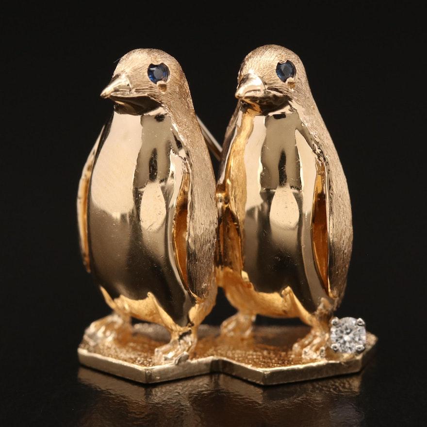 Henry Dankner 14K Diamond and Sapphire Penguin Brooch