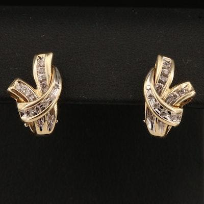 14K Channel Set Diamond Earrings