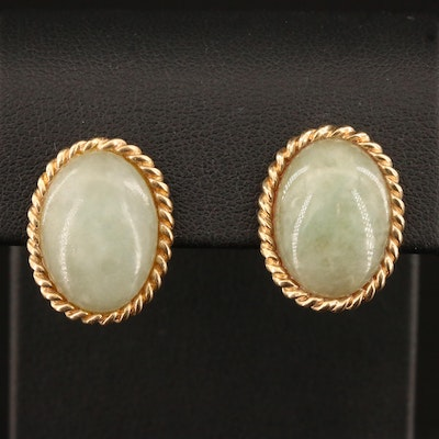 14K Jadeite Button Earrings with Rope Detailing