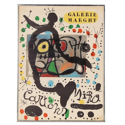 "Joan Miro Galerie Maeght Exhibition Lithograph Poster ""Cartons,"" 1965"