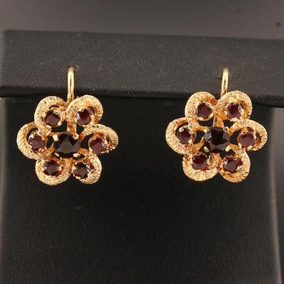 Vintage Carletto 18K Garnet Drop Earrings