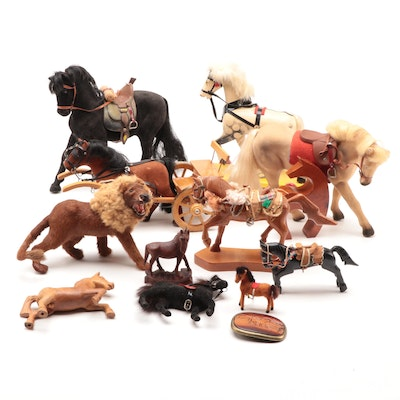 Horse and Lion Figurines with Belt Buckle, Mid-Late 20th Century