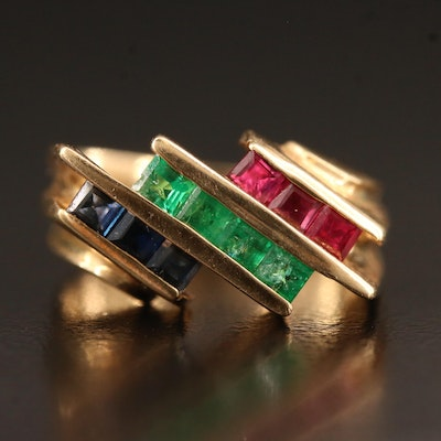 Modernist 14K Ruby, Sapphire and Emerald Ring