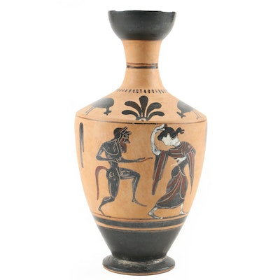 Ancient Grecian Style Terracotta Black Figure Pottery Lekythos