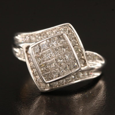 10K Diamond Ring Featuring Channel Settings and Bypass Design