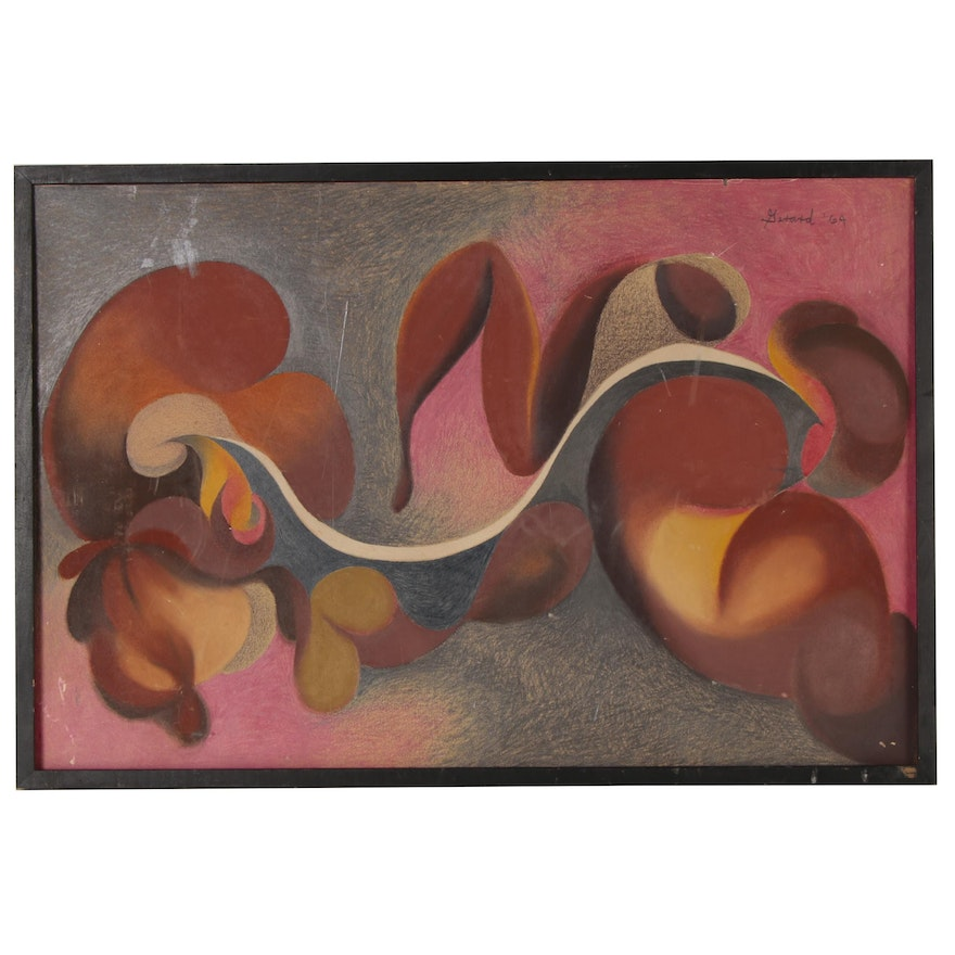 James Gerard de Martini Abstract Pastel Drawing, 1964
