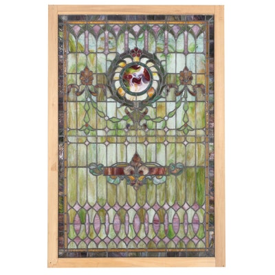 Stained and Slag Glass Famed Hanging Window Panel