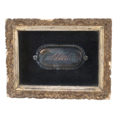 "Framed ""Our Darling"" Silver Plate Casket Plaque, Late 19th Century"