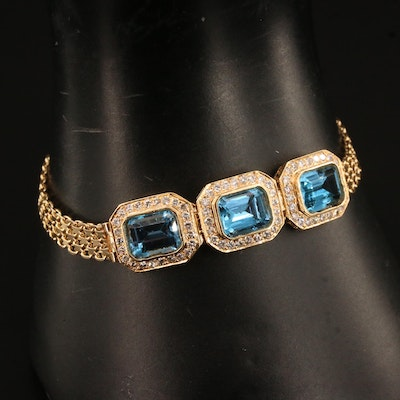 14K Topaz and 1.08 CTW Diamond Bracelet
