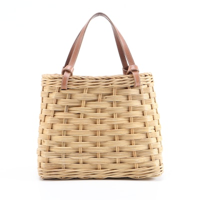 Kate Spade New York Woven Basket Bag with Leather Straps
