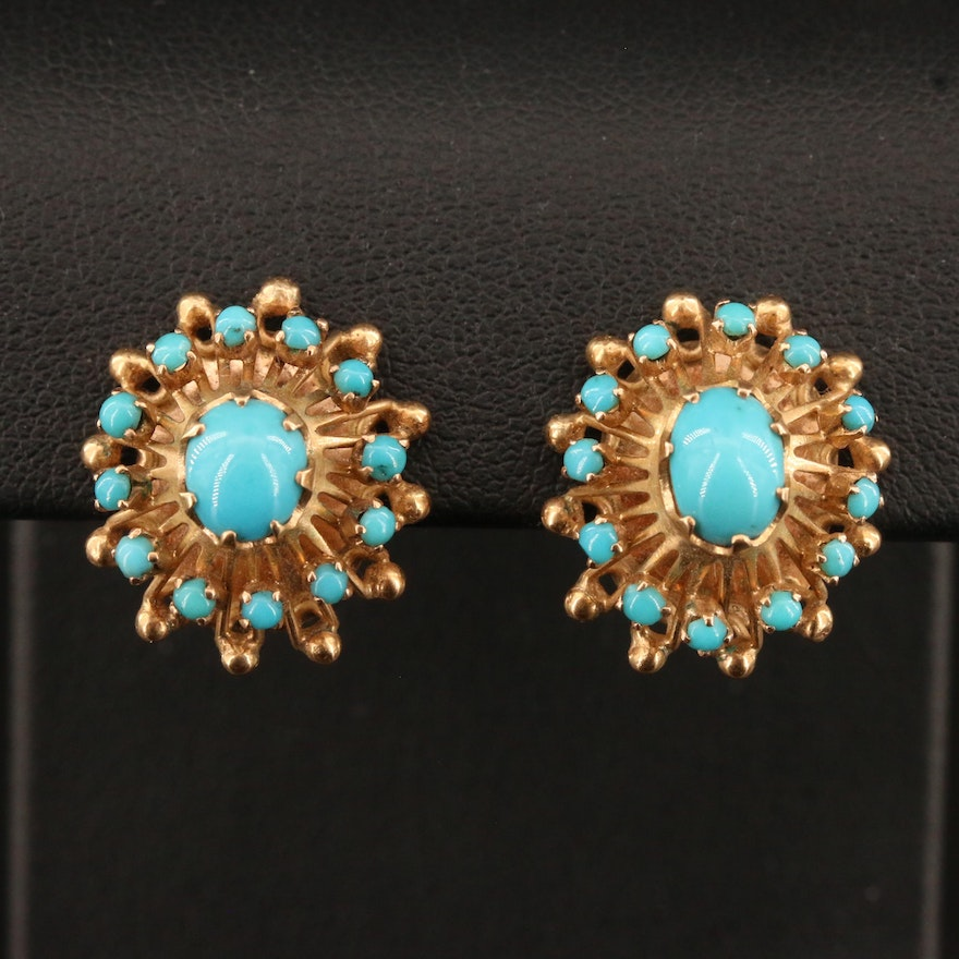 Vintage 14K Turquoise Earrings with 8K Clips and Backs
