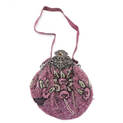 Antique Filigree Frame Beaded Evening Bag with Color-Filled Glass Beads