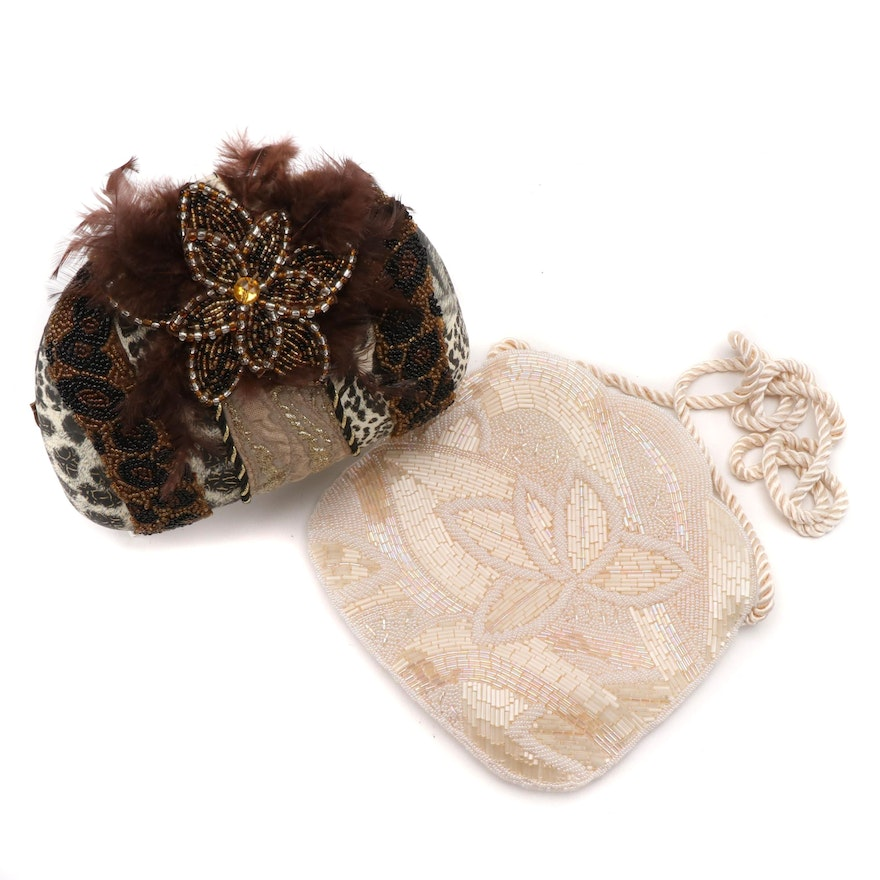 Beaded and Embellished Convertible Clutch with Off-White Beaded Evening Bag