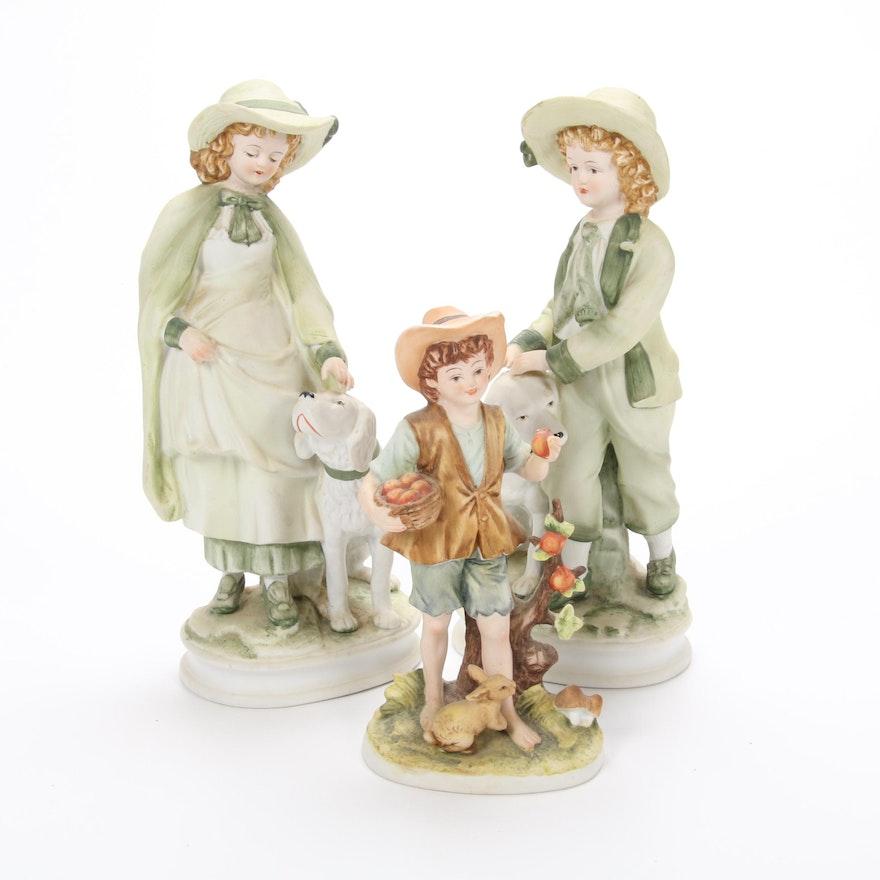 Lefton and Sadek Bisque Porcelain Figurines