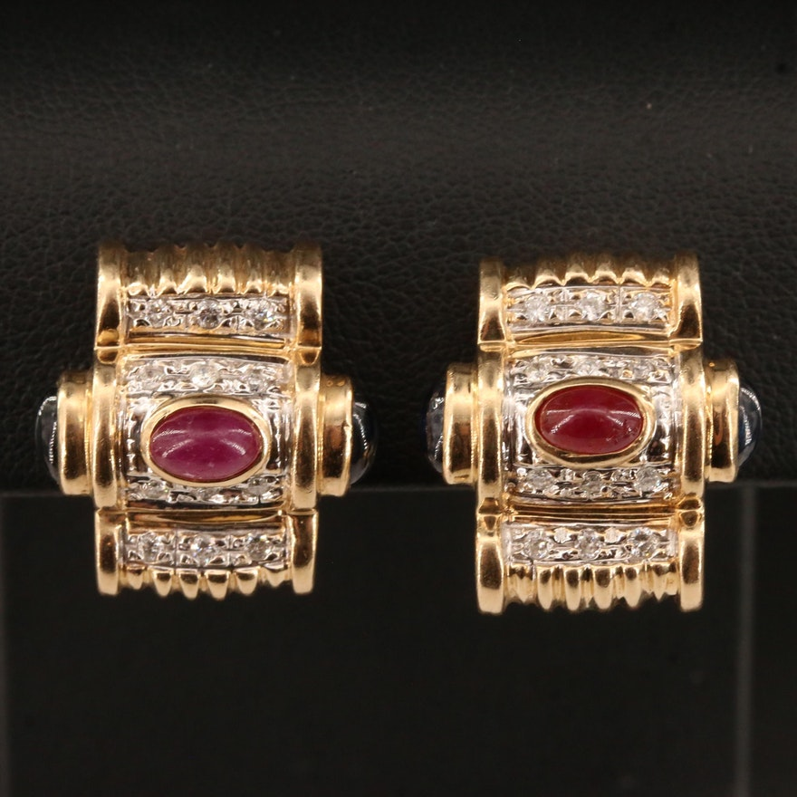 14K Sapphire, Ruby and Diamond Earrings