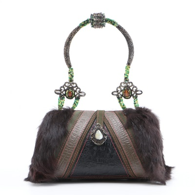 Mary Frances Rabbit Fur and Feather Embellished Handbag